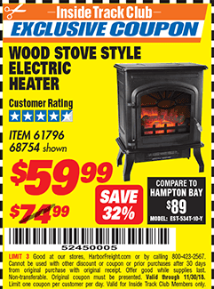 www.hfqpdb.com - WOOD STOVE STYLE ELECTRIC HEATER Lot No. 61796/68754