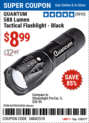 www.hfqpdb.com - QUANTUM 588 LUMENS TACTICAL FLASHLIGHT Lot No. 64799/63934