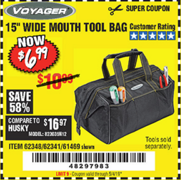 "www.hfqpdb.com - VOYAGER 15"" WIDE MOUTH TOOL BAG Lot No. 62348/62341/61469"
