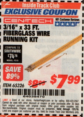 "www.hfqpdb.com - CEN-TECH 3/16""X33FT. FIBERGLASS WIRE RUNNING KIT Lot No. 65326"
