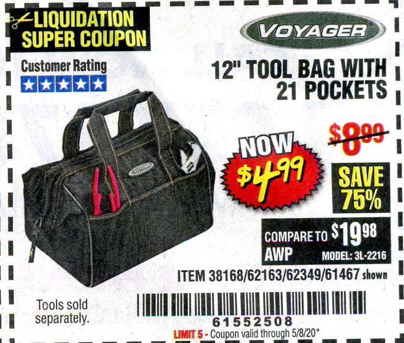 "www.hfqpdb.com - VOYAGER 12"" WIDE MOUTH TOOL BAG Lot No. 38168/62163/62349/61467"