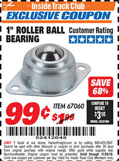 "www.hfqpdb.com - 1"" ROLLER BALL BEARING Lot No. 67060"