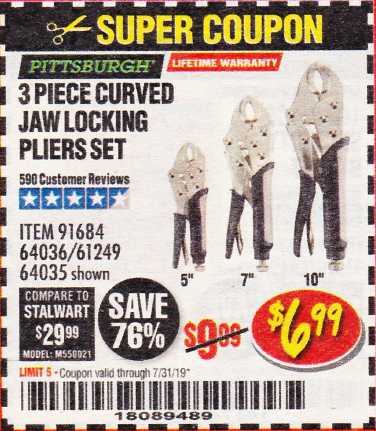 Harbor Freight 3 PIECE CURVED JAW LOCKING PLIERS SET coupon