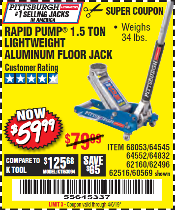 Harbor Freight RAPID PUMP 1.5 TON ALUMINUM RACING JACK coupon