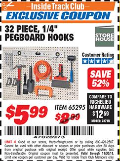"""www.hfqpdb.com - 32 PIECE, 1/4"""" PEGBOARD HOOKS Lot No. 65295"""
