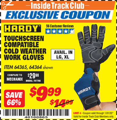 Harbor Freight HARDY COLD WEATHER WORK GLOVES LARGE coupon