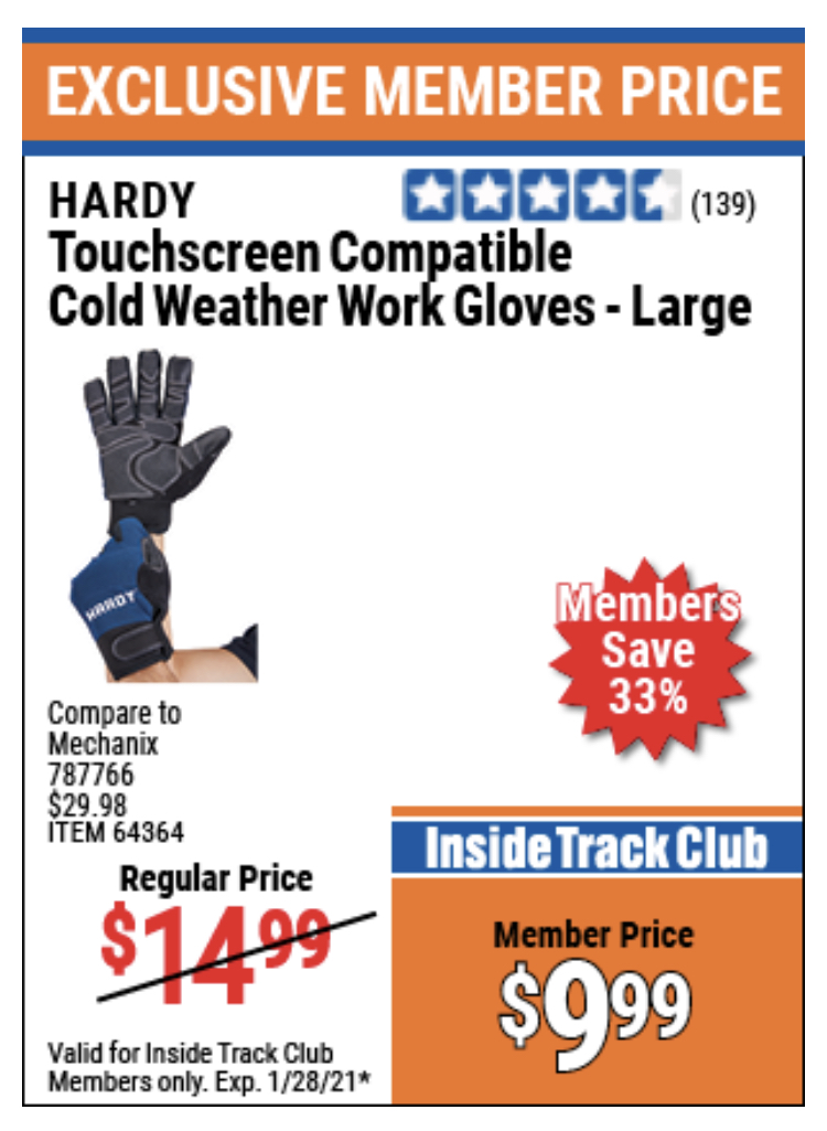 www.hfqpdb.com - HARDY COLD WEATHER WORK GLOVES LARGE Lot No. 64365/64364