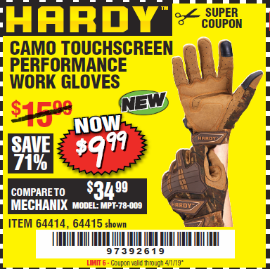 www.hfqpdb.com - HARDY CAMO TOUCHSCREEN PERFORMANCE WORK GLOVES Lot No. 64415/64414