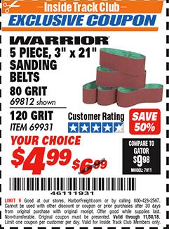 "www.hfqpdb.com - WARRIOR 3 PIECE, 3"" X 21"" SANDING BELTS Lot No. 69812, 69931"