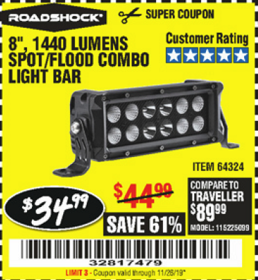 Harbor Freight 1440 LUMENS 8 IN. COMBO LIGHT BAR coupon