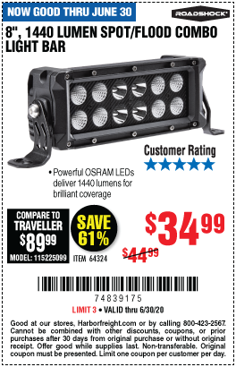 Harbor Freight ROADSHOCK 1440 LUMENS 8 IN. COMBO LIGHT BAR coupon