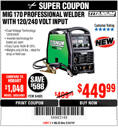 Harbor Freight TITANIUM MIG 170 WELDER coupon