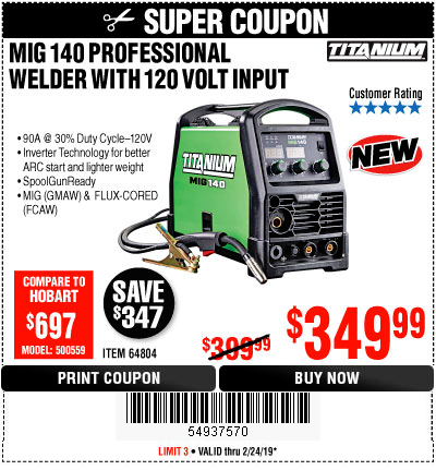 Harbor Freight TITANIUM MIG 140 WELDER coupon