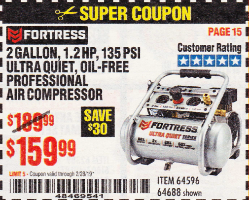 www.hfqpdb.com - FORTRESS 2 GALLON 1.2HP, 135PSI AIR COMPRESSOR Lot No. 64688/64596
