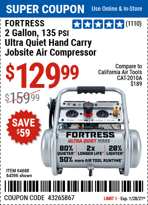 www.hfqpdb.com - FORTRESS 2 GALLON, 1.2 HP, 135 PSI ULTRA-QUIET, OIL-FREE PROFESSIONAL AIR COMPRESSOR Lot No. 64688/64596