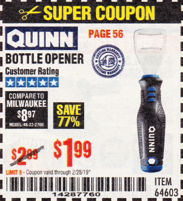 Harbor Freight BOTTLE OPENER coupon
