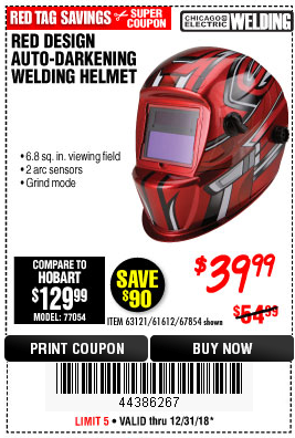 Harbor Freight RED DESIGN AUTO-DARKENING WELDING HELMET coupon