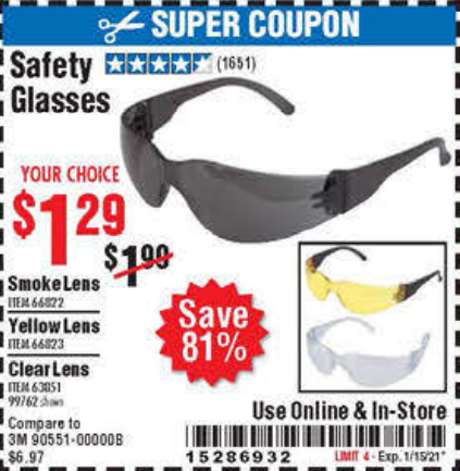 www.hfqpdb.com - SAFETY GLASSES Lot No. 66822/66823/63851/99762