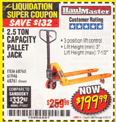 Harbor Freight 2.5 TON PALLET JACK coupon