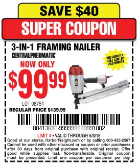 3 in1 framing nailer lot no 98751 expired 5315 9999 coupon code 80413690 harbor freight