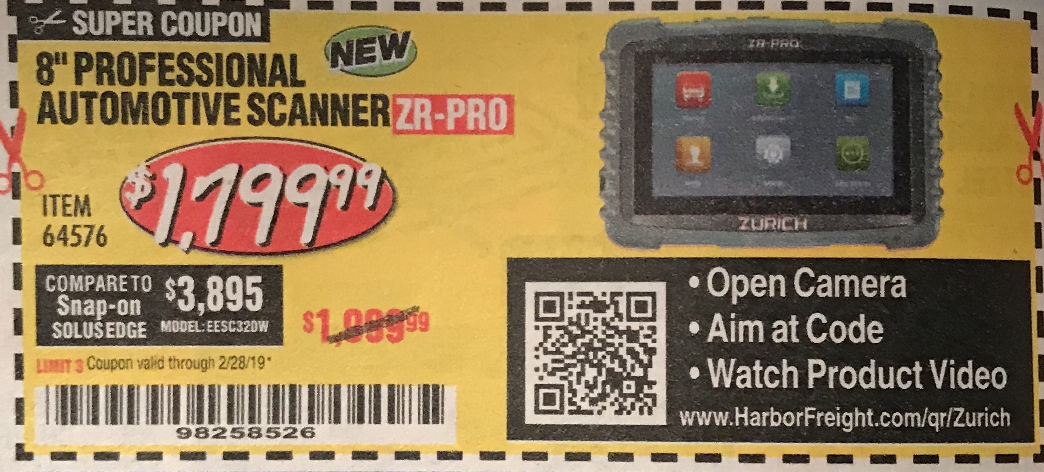 Harbor Freight ZURICH ZR-PRO PROFESSIONAL AUTO SCANNER coupon