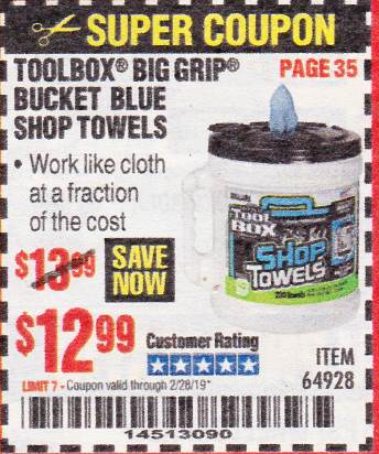 www.hfqpdb.com - TOOLBOX BIG GRIP BUCKET BLUE SHOP TOWELS Lot No. 64928