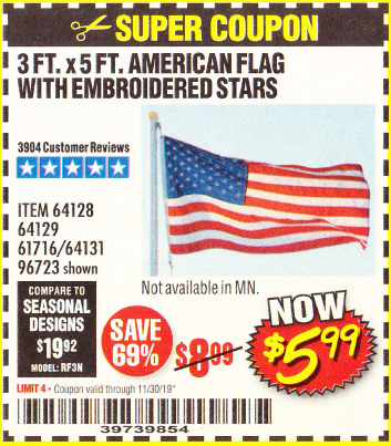 www.hfqpdb.com - 3 FT. X 5 FT. AMERICAN FLAG WITH EMBROIDERED STARS Lot No. 61716/96723/64128/64129/64131