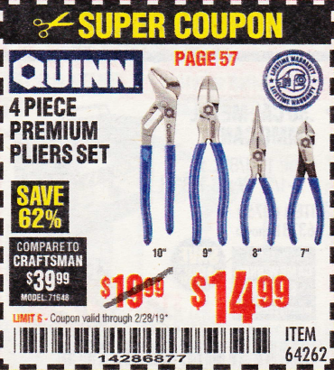 www.hfqpdb.com - QUINN 4 PIECE PLIERS SET Lot No. 64262