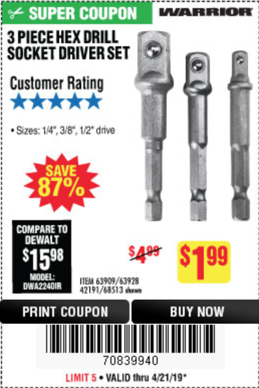 Harbor Freight 3 PIECE HEX DRILL SOCKET DRIVER SET coupon