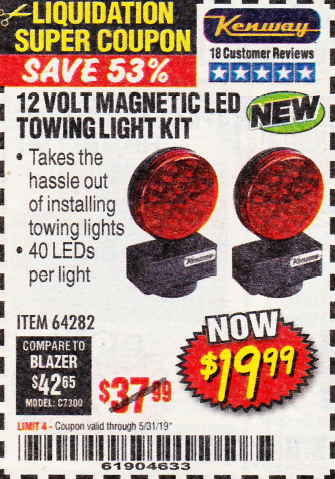 Harbor Freight 12 VOLT LED MAGNETIC TOWING LIGHT KIT coupon