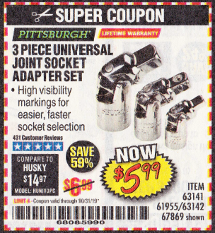 Harbor Freight 3 PIECE UNIVERSAL JOINT SOCKET ADAPTER SET coupon
