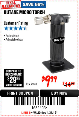 Harbor Freight BUTANE MICRO TORCH coupon