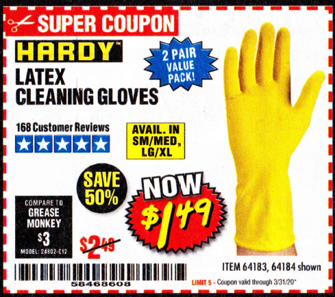 www.hfqpdb.com - LATEX CLEANING GLOVES 2 PAIR Lot No. 64184/64183