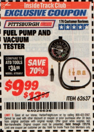 www.hfqpdb.com - FUEL PUMP AND VACUUM TESTER PITTSBURGH Lot No. 62637