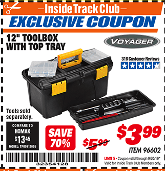 "Harbor Freight 12"" TOOLBOX WITH TOP TRAY VOYAGER coupon"