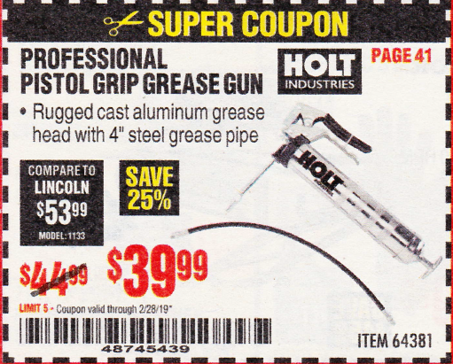 www.hfqpdb.com - HOLT PROFESSIONAL PISTOL GRIP GREASE GUN Lot No. 64381
