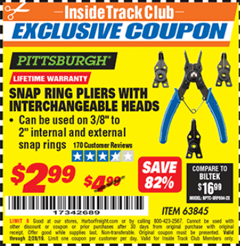 www.hfqpdb.com - PITTSBURGH SNAP RING PLIERS WITH INTERCHANGEABLE HEADS Lot No. 63845