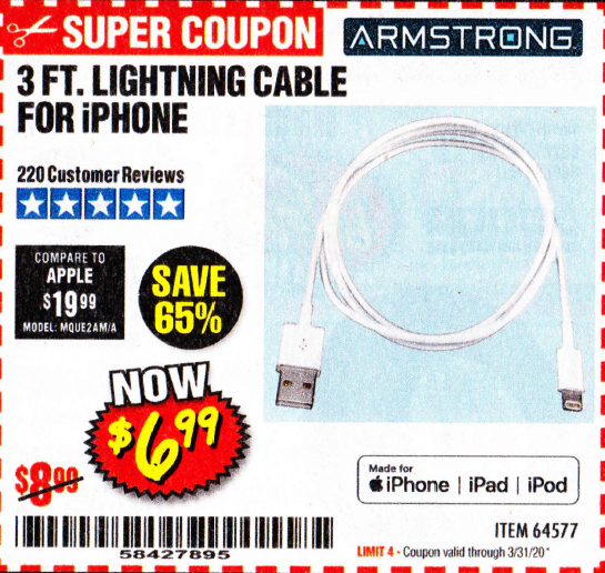 www.hfqpdb.com - 3 FT. LIGHTNING CABLE FOR IPHONE Lot No. 64577