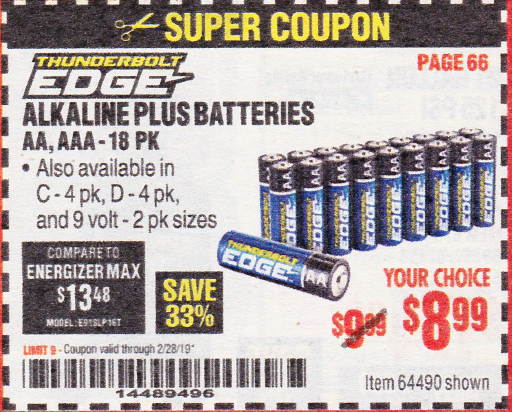 www.hfqpdb.com - ALKALINE BATTERIES, AA, AAA - 18PK Lot No. 64490