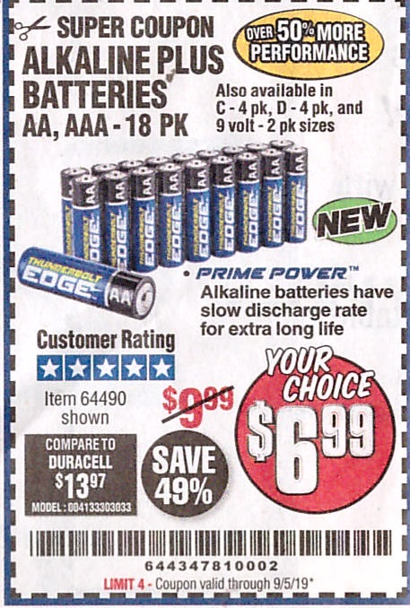Harbor Freight ALKALINE BATTERIES, AA, AAA - 18PK coupon