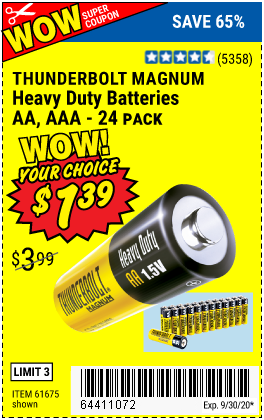 Harbor Freight THUNDERBOLT EDGE ALKALINE PLUS BATTERIES, AA, AAA - 18PK coupon