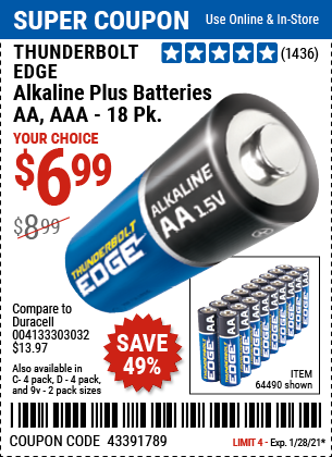 www.hfqpdb.com - THUNDERBOLT EDGE ALKALINE PLUS BATTERIES, AA, AAA - 18PK Lot No. 64490