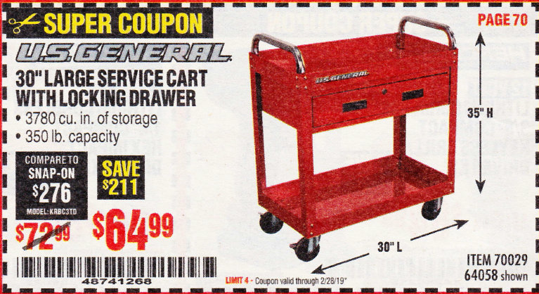 "www.hfqpdb.com - 30"" LARGE SERVICE CART WITH LOCKING DRAWER Lot No. 64058/70029"