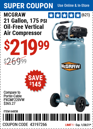 www.hfqpdb.com - MCGRAW 175 PSI, 21 GALLON VERTICAL OIL-FREE AIR COMPRESSOR Lot No. 64858