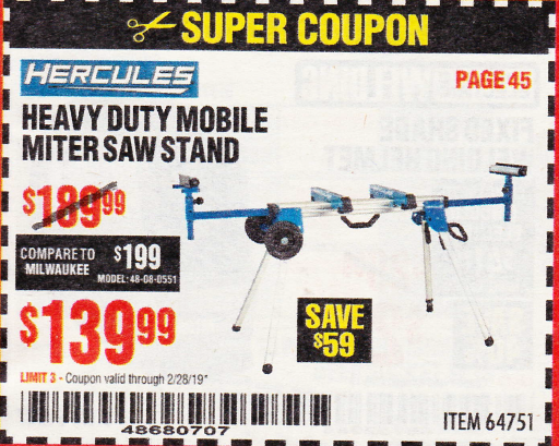 www.hfqpdb.com - HERCULES HEAVY DUTY MOBILE MITER SAW STAND Lot No. 64751