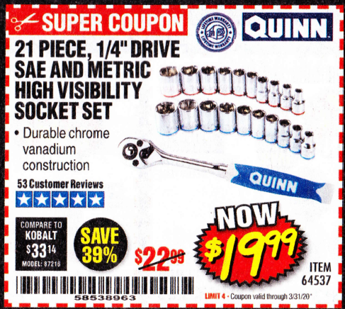 "www.hfqpdb.com - QUINN 21 PIECE, 1/4"" DRIVE SAE AND METRIC HIGH VISIBILITY SOCKET SET Lot No. 64537"