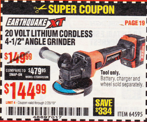 "www.hfqpdb.com - EARTHQUAKE XT 20 VOLT LITHIUM CORDLESS 4-1/2"" ANGLE GRINDER Lot No. 64595"