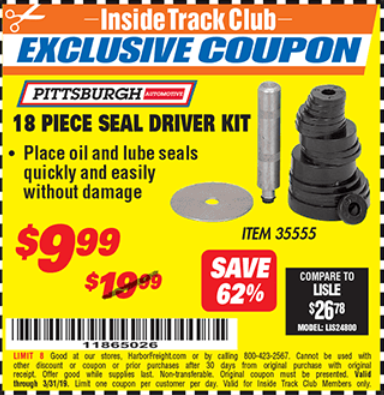 Harbor Freight 18 PIECE SEAL DRIVER KIT coupon