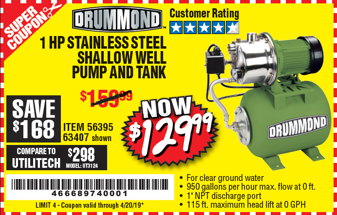 Harbor Freight 1 HP STAINLESS STEEL SHALLOW WELL PUMP AND TANK coupon