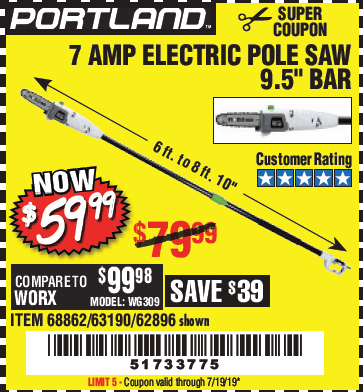 Harbor Freight 7 AMP ELECTRIC POLE SAW coupon